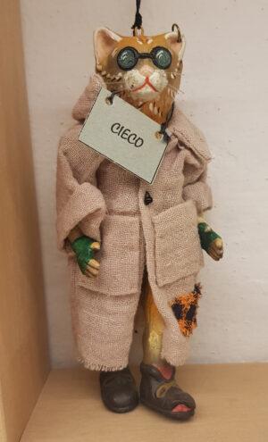 Gato ciego, marioneta grande con ropa, hecha de cinco piezas articuladas y decoradas a mano