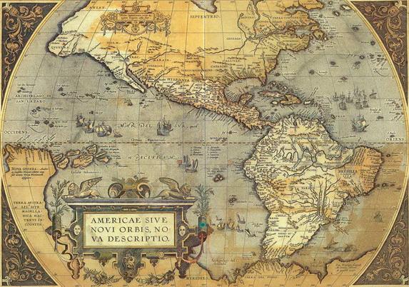 Geschenkpapier mit alter Landkarte Amerikas
