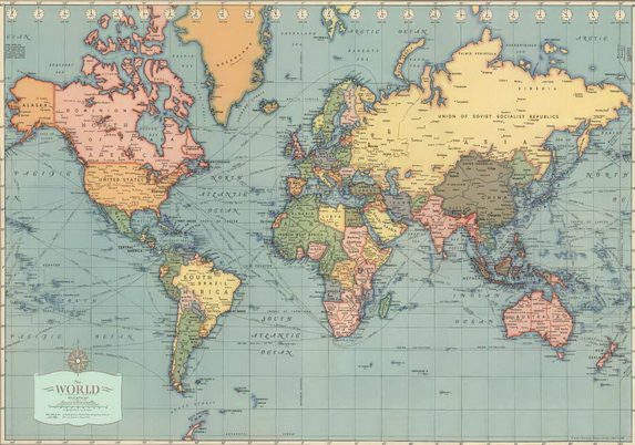 Vintage World Map Poster/Wrapping Paper