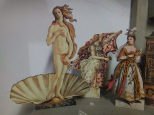 """Three different silhouettes - 2nd group, the hour and the venus taken from the famous painting """"the birth of Venus"""" by Sandro Botticelli and """"the singer""""."""