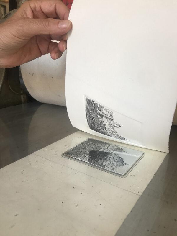 grabado original acuarelado a mano