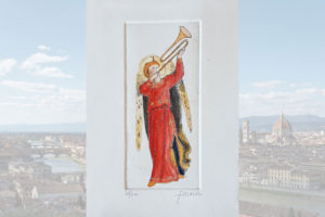 Ángel músico n. 1 – grabado original acuarelado a mano al agua