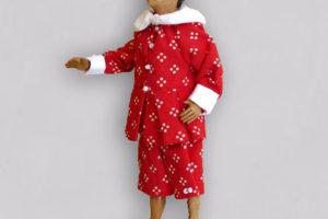 Pinocchio, marionetta in terracotta composta da cinque pezzi snodati decorati a mano e vestiti in cotone rosso