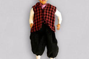 Geppetto, marionetta vestita con tessuti di cottone, composta da cinque pezzi snodati in terracotta e decorati a mano
