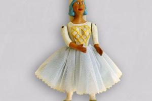 Fata Turchina, marionetta vestita con tessuti di cottone, composta da cinque pezzi snodati in terracotta e decorati a mano