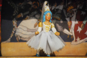 Blue Fairy, small terracotta puppet made up of five hand-decorated jointed pieces and dressed in cotton