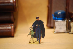 Pinocchio and Carabiniere, wooden hand-fretworked silhouette of the series 'The adventures of Pinocchio'
