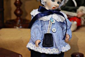 Pinocchio scolaro somaro blù con occhi di vetro