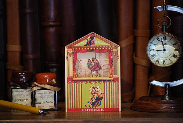 Mini teatro Mangiafuoco con Pinocchio e bambina