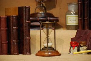Clessidra bronzata con base di legno (30 min.)