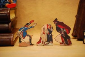 Characters from the tale of Pinocchio, wooden hand-fretworked silhouettes