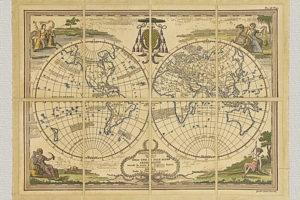 Mappamondo Antico Diviso nell'uno e nell'altro Continente secondo G. Sanson, inciso da  G.M. Cassini (1801)